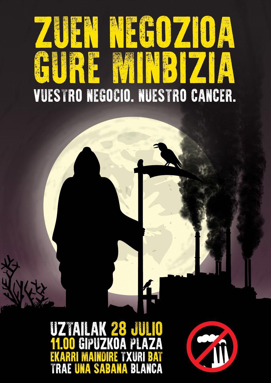 El Movimiento Contra la Incineración llama a concentrarse el 28 de julio ante la Diputación de Donostia