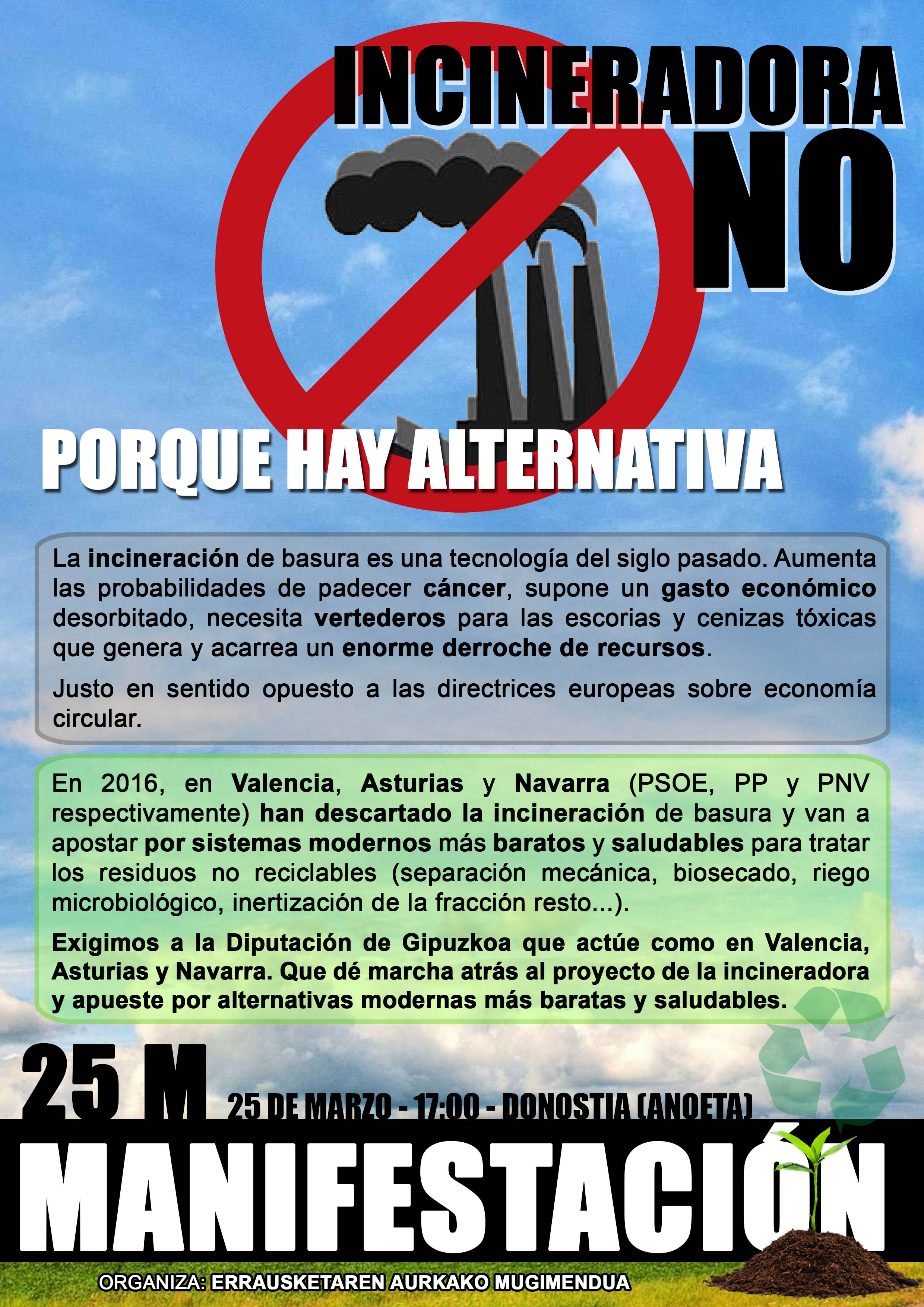 Llamamiento para participar en la manifestaciòn de hoy que comenzará desde el estadio de Anoeta: ¡Porque hay alternativa no a la incineradora!