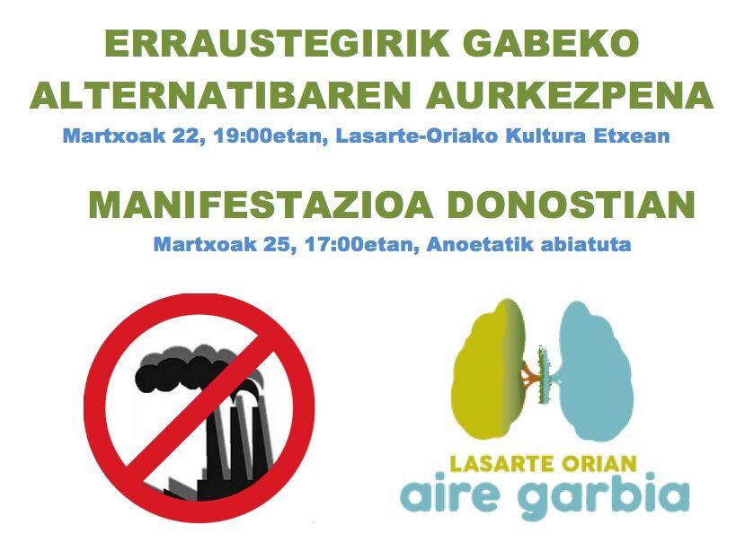 Hoy la plataforma Lasarte-Orian Aire Garbia presenta la alternatiba sin incineradora en la Casa de Cultura
