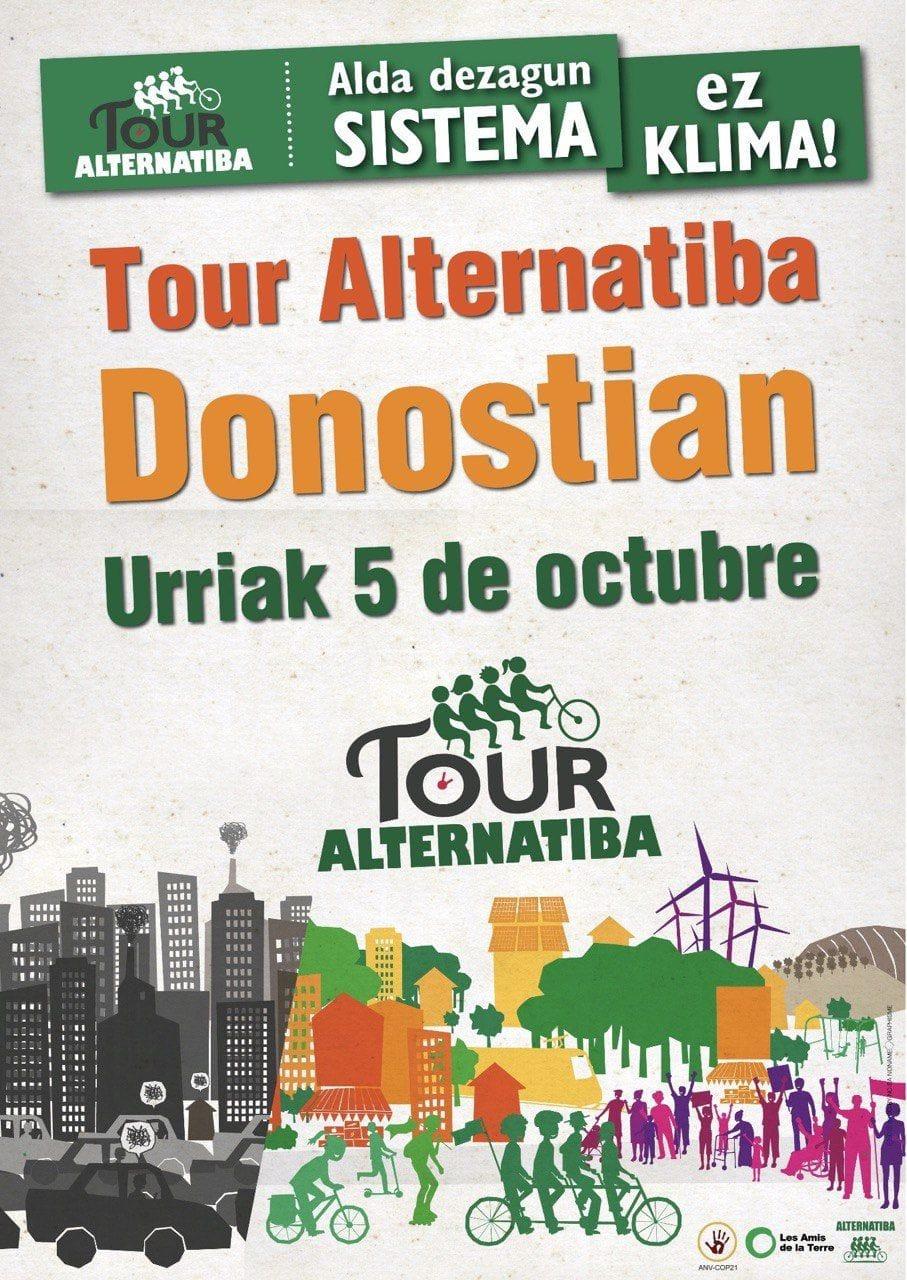 Recibimiento al «Tour Alternatiba» contra el cambio climático el 5 de octubre en Donostia