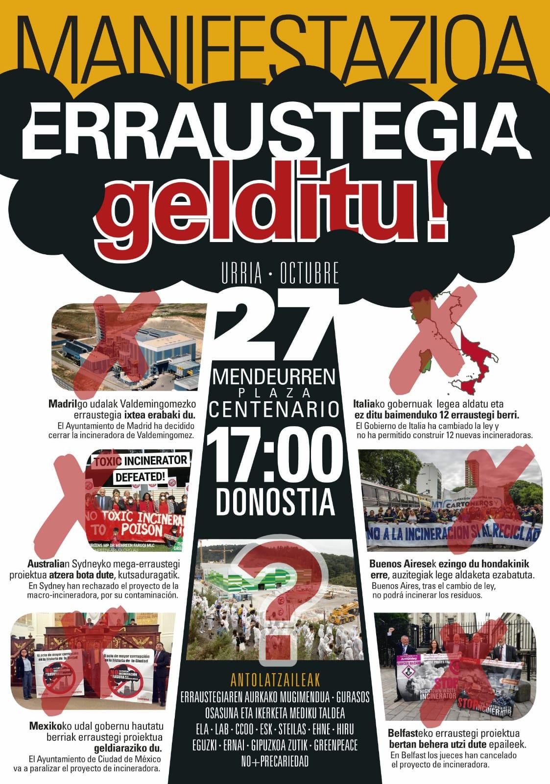 """Gipuzkoako  hainbat  eragilek  deituta,  urriaren  27an  """"Erraustegia  gelditu!""""  manifestazioa  Donostian"""