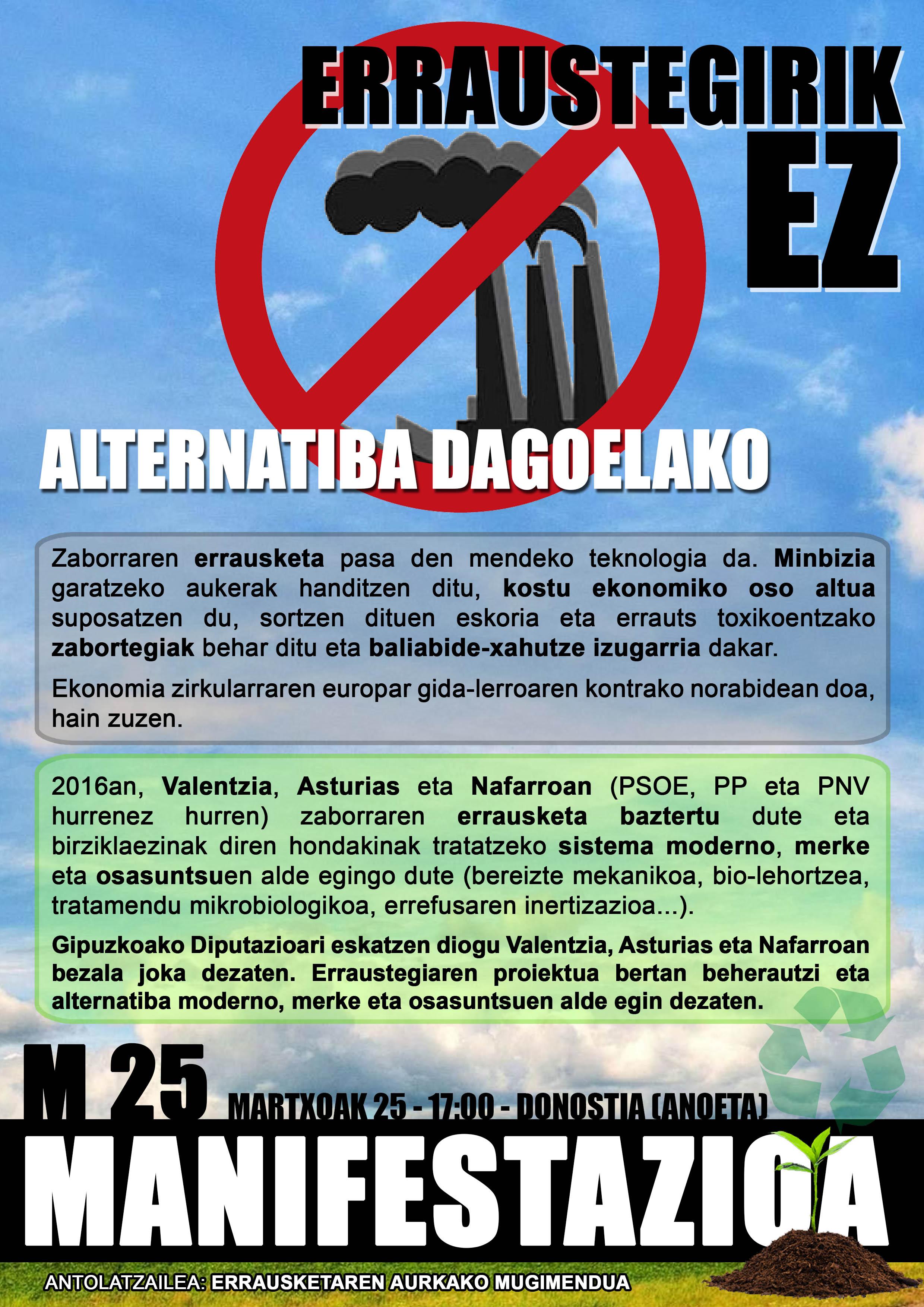 Gaur  arratsaldean  Anoetako  estadiotik  hasiko  den  manifestazioan  parte  hartzeko  deia:  Alternatiba  dagoelako  erraustegirik  ez!