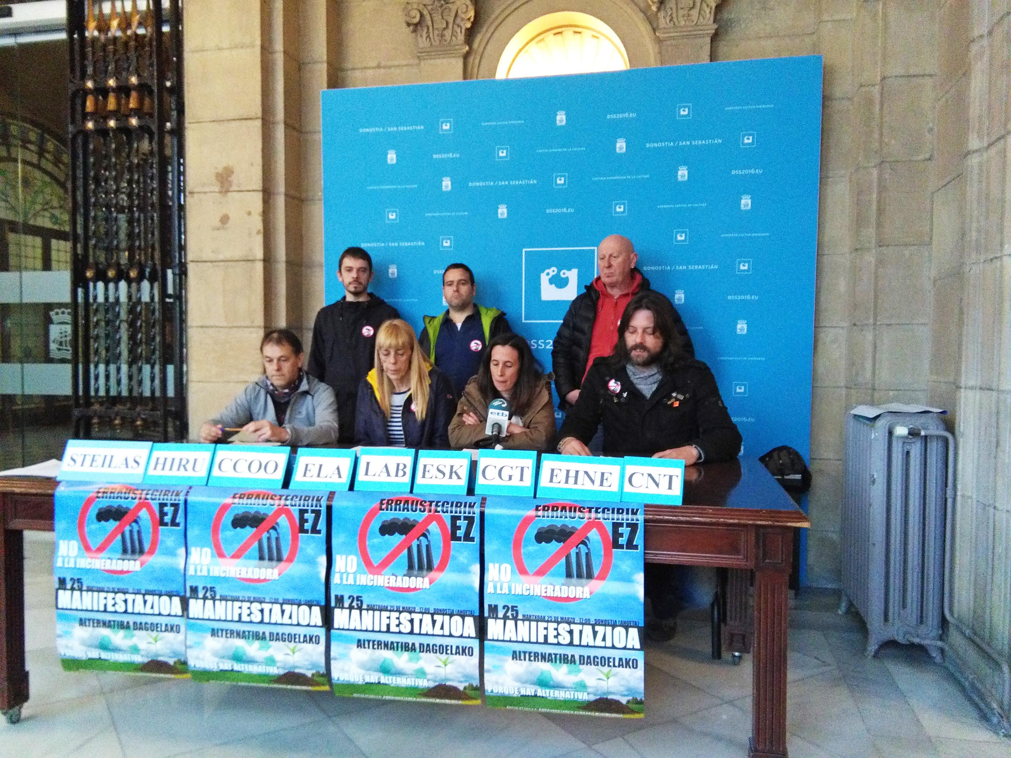 Los sindicatos CCOO, CGT, CNT, EHNE, ELA, ESK, HIRU, LAB y STEILAS muestran su apoyo a la manifestación del sábado