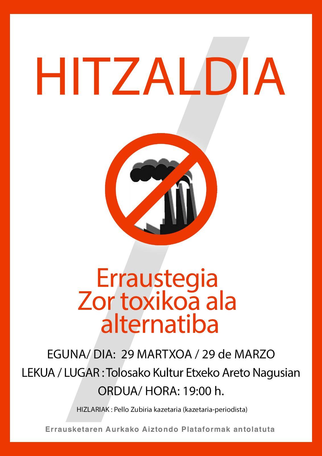 El 29 de marzo en la Sala Principal de la Casa de Cultura de Tolosa charla: «Deuda tóxica de la Incineradora o alternativa»