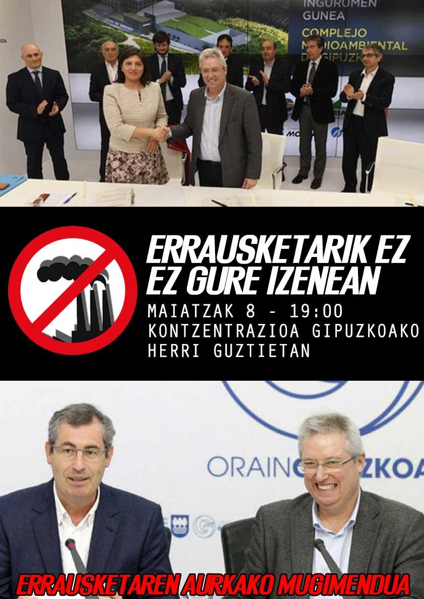 En mayo, llamamiento para movilizarse en toda Gipuzkoa: «¡No a la Incineradora! ¡No en nuestro nombre!»