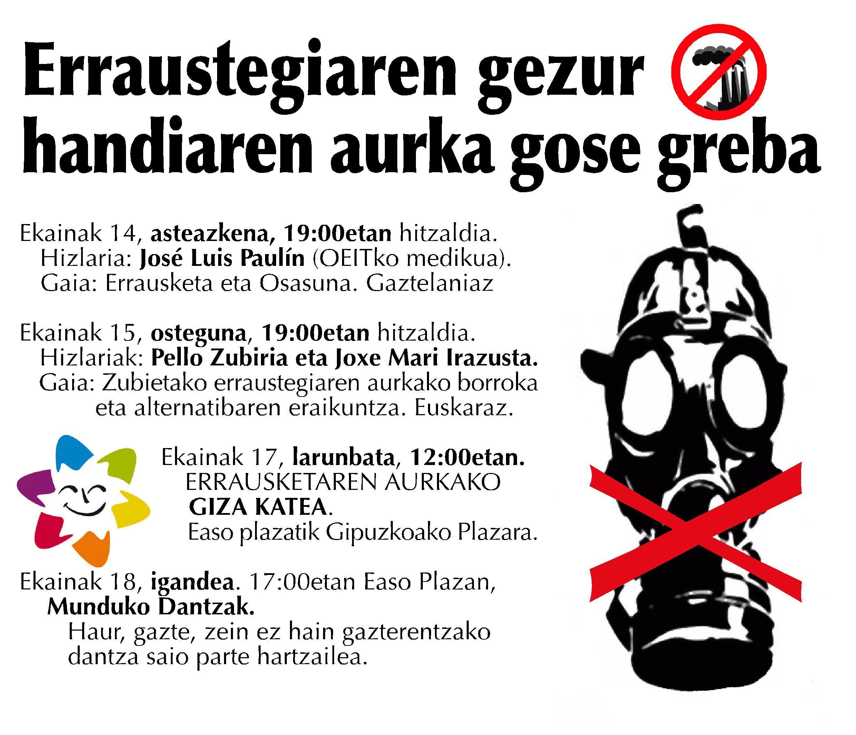 Hoy comienza en la Plaza Easo de Donostia la HUELGA DE HAMBRE en contra de la incineradora