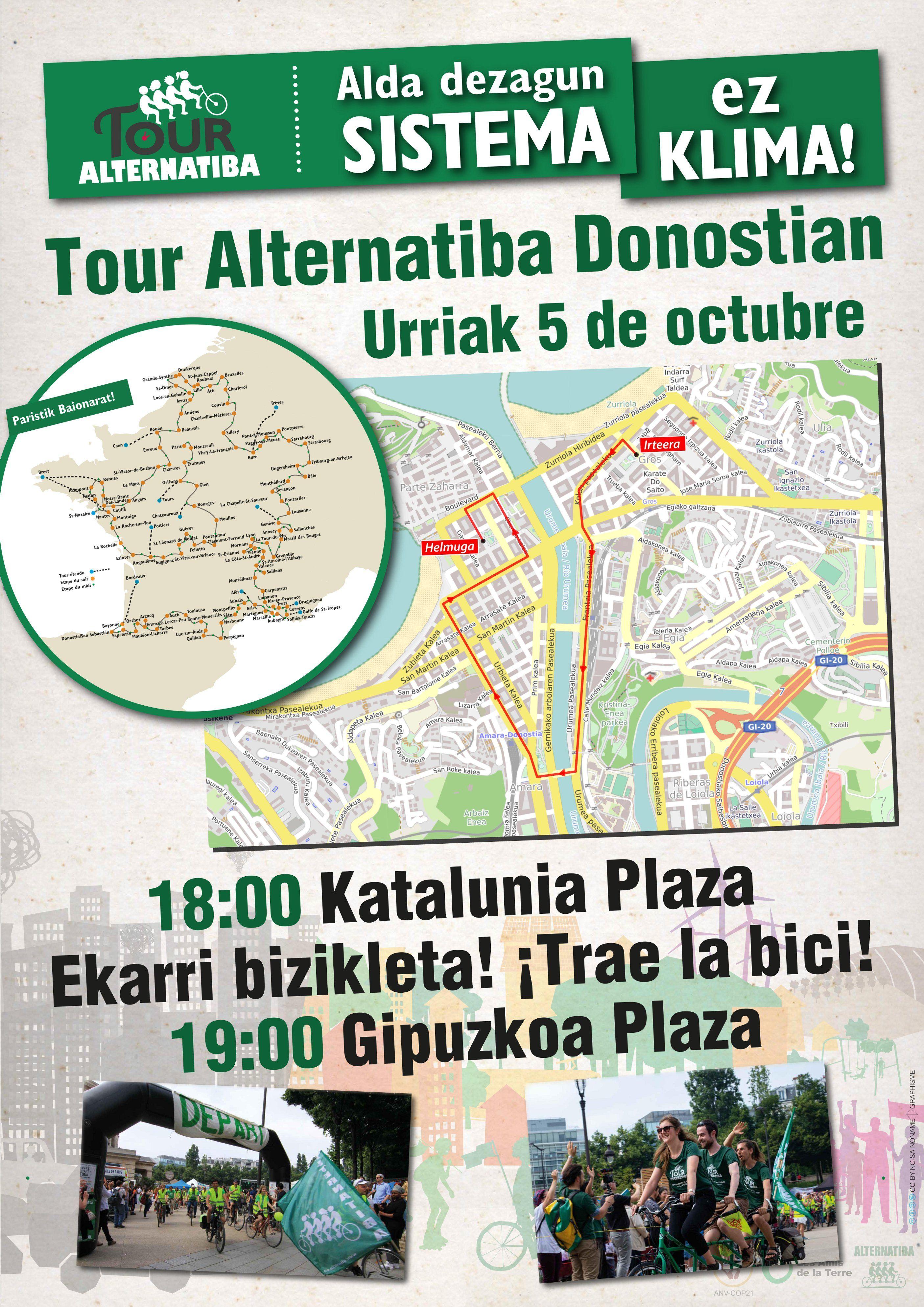 """Urriaren 5ean klima aldaketaren aurkako """"Tour Alternatibari"""" harrera Donostian"""