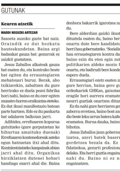 Lasarte-Oriako Txintxarrin gazte batek idatzitako eskutitz laburra